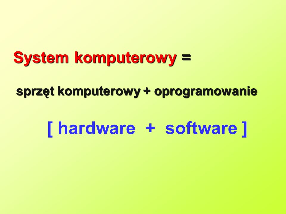 [ hardware + software ] System komputerowy =